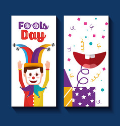 Fools day banner celebration joker and box mouth vector