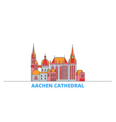 Germany aachen cathedral line cityscape flat vector
