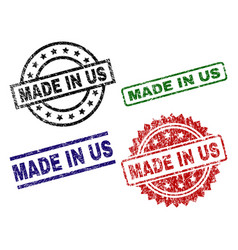 grunge textured made in us seal stamps vector image