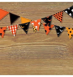 Halloween Bunting Flags With Wood Background vector