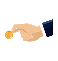 Hand business man holding coin money image vector