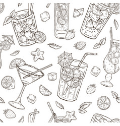 Hand drawn cocktails seamless pattern vector