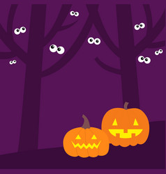 happy halloween scary tree forest scene landscape vector image