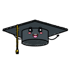 Hat graduation kawaii character vector