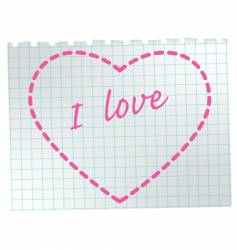 heart on notepad vector image