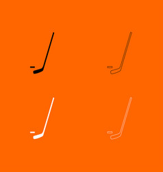 Hockey sticks and puck black and white set icon vector