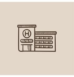 Hospital building sketch icon vector image