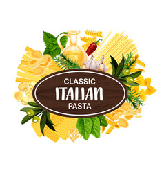 Italian macaroni and spaghetti olive oil vector