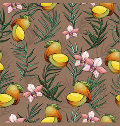jungle seamless pattern with tropical plant vector image