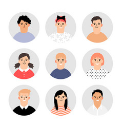 kids faces avatars vector image