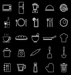 Kitchen line icons on black background vector image