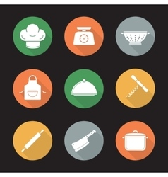 Kitchenware flat design long shadow icons set vector image