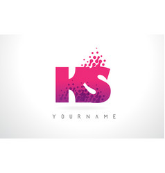 ks k s letter logo with pink purple color and vector image