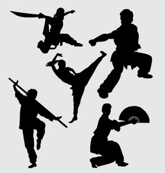 kung fu martial art sport silhouette vector image