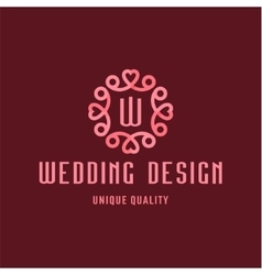 letter w wedding design sign in form an vector image
