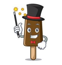 Magician chocolate ice cream mascot cartoon vector