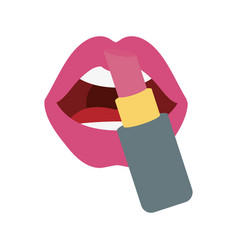 makeup lips and lipstick icon on white background vector image