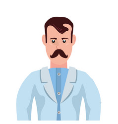 Male doctor with mustache professional character vector