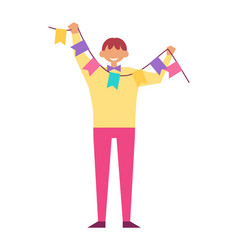 Man celebrate birthday party hold decorative flags vector