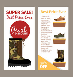 Mens military autumn boots vertical flyers vector