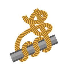 Metal stick with rope tied around in knot vector