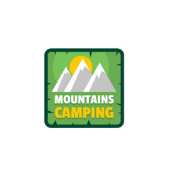 Moutains camping logo flat style vector