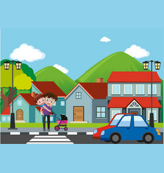 Neighborhood scene with man and boy crossing road vector