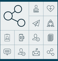 network icons set with connect information group vector image