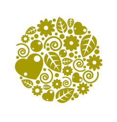 nice childish circle composition of flowers vector image