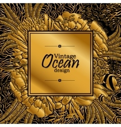 Ocean line art design vector image