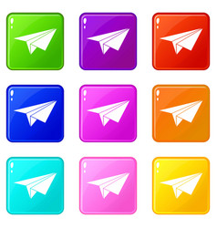Paper plane icons 9 set vector