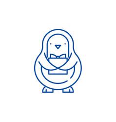 penguin line icon concept penguin flat vector image
