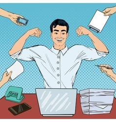 Pop Art Successful Multi Tasking Businessman vector image