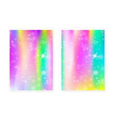 princess background with kawaii rainbow gradient vector image