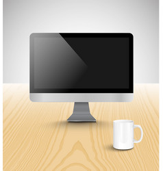 Realistic office desk with different objects vector