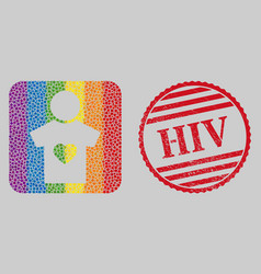 Scratched hiv stamp seal and mosaic boyfriend vector