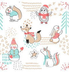 seamless pattern with cute penguinsnowman fox vector image