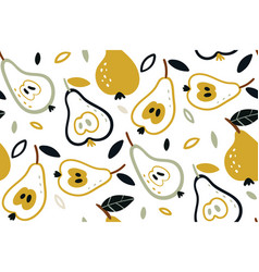 Seamless pattern with pears isolated on vector