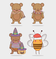 Set bear and bee cute animal with costume vector