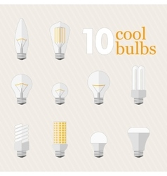 Set of 10 different bulbs vector
