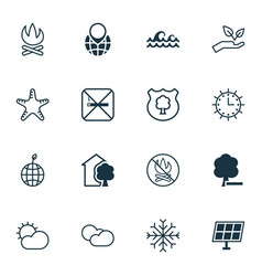 set of 16 eco icons includes pin earth sun clock vector image