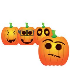 set of jack-o-lanterns vector image