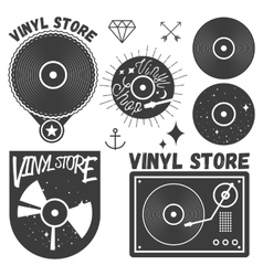 Set of vinyl disc and player music records vector