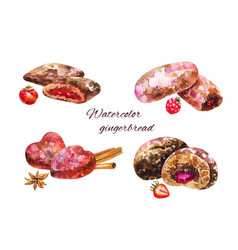 set of watercolor gingerbread on white vector image