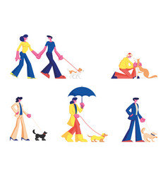set people spending time with pets outdoors male vector image