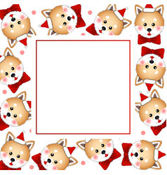 Shiba inu santa claus dog with red ribbon on vector