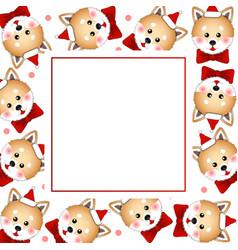 Shiba inu santa claus dog with red ribbon on vector