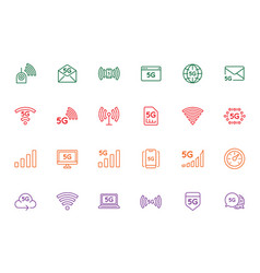 simple line stroke icon setnew 5th generation vector image