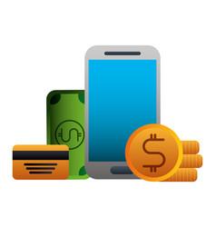 smartphone bank card money coin banknote vector image