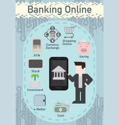 Smartphone concept banking online with financial vector